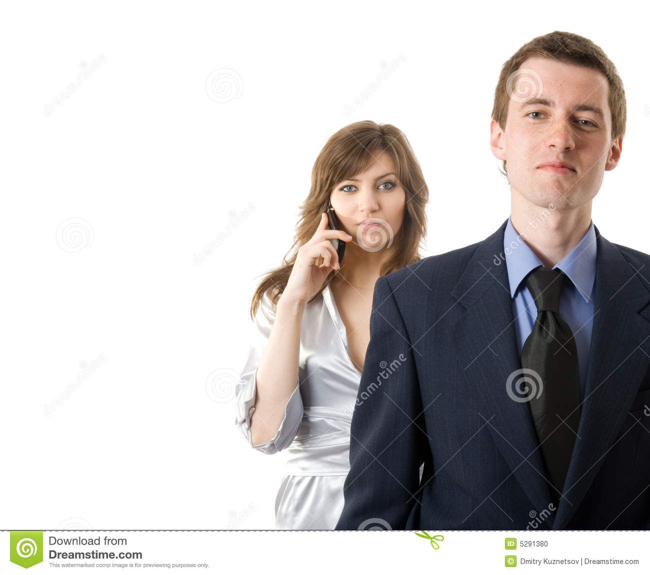 Teamwork. Two Business People On White Background Stock