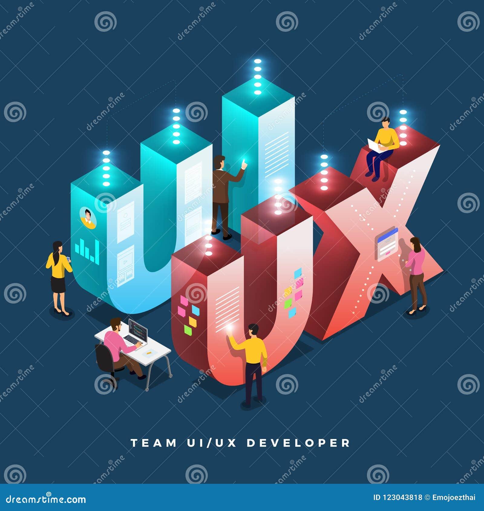 Ui Ux Developer >> Teamwork Ui Ux Developer Stock Vector Illustration Of Business