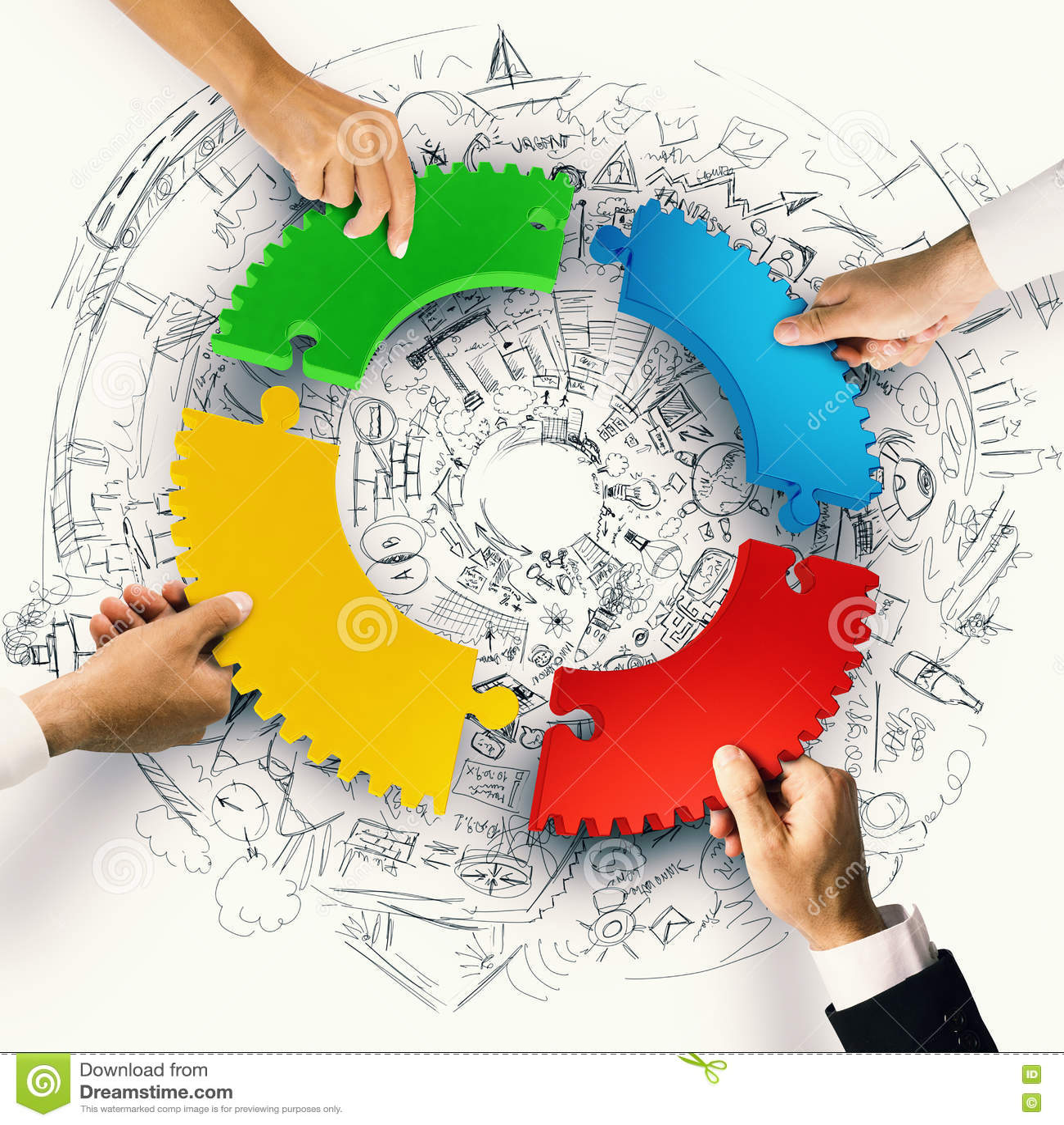 Teamwork- und Integrationskonzept mit Puzzlespielstücken von Gang 3D Wiedergabe