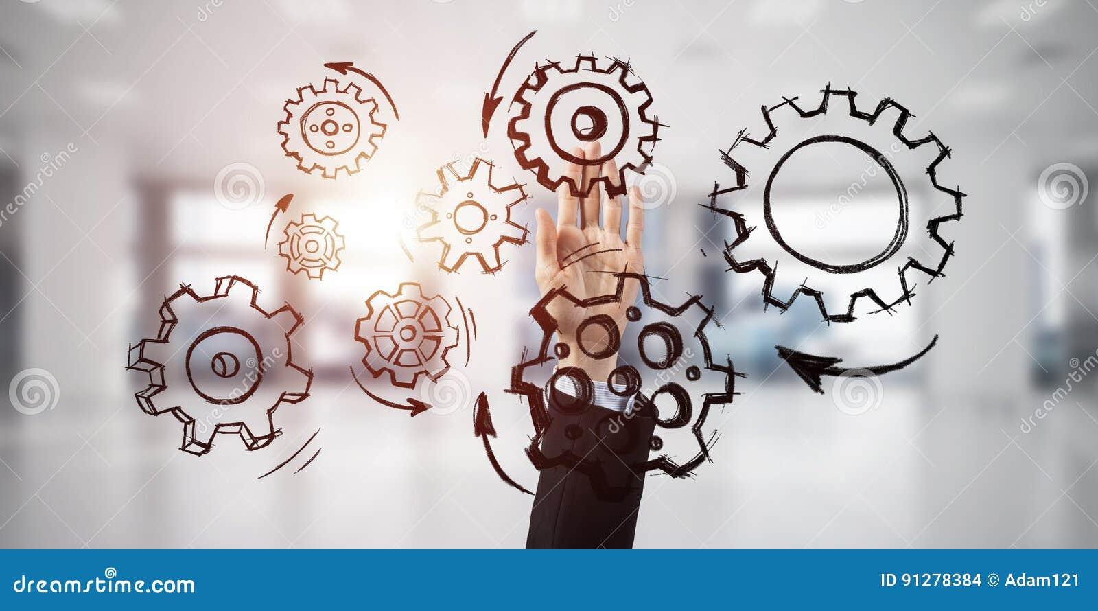 Teamworkbegrepp och väljagest av businesspersonen i elega