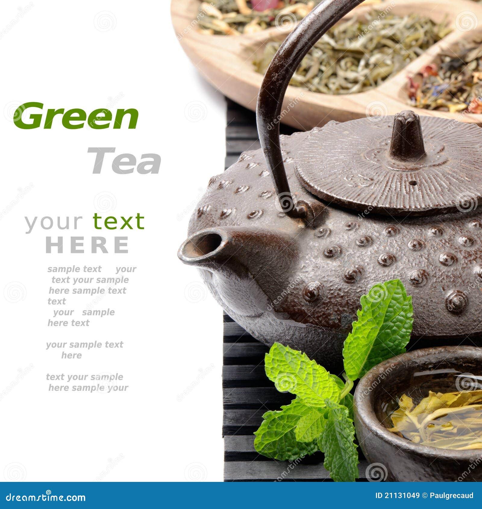 Teapot asiático com seleção do chá verde