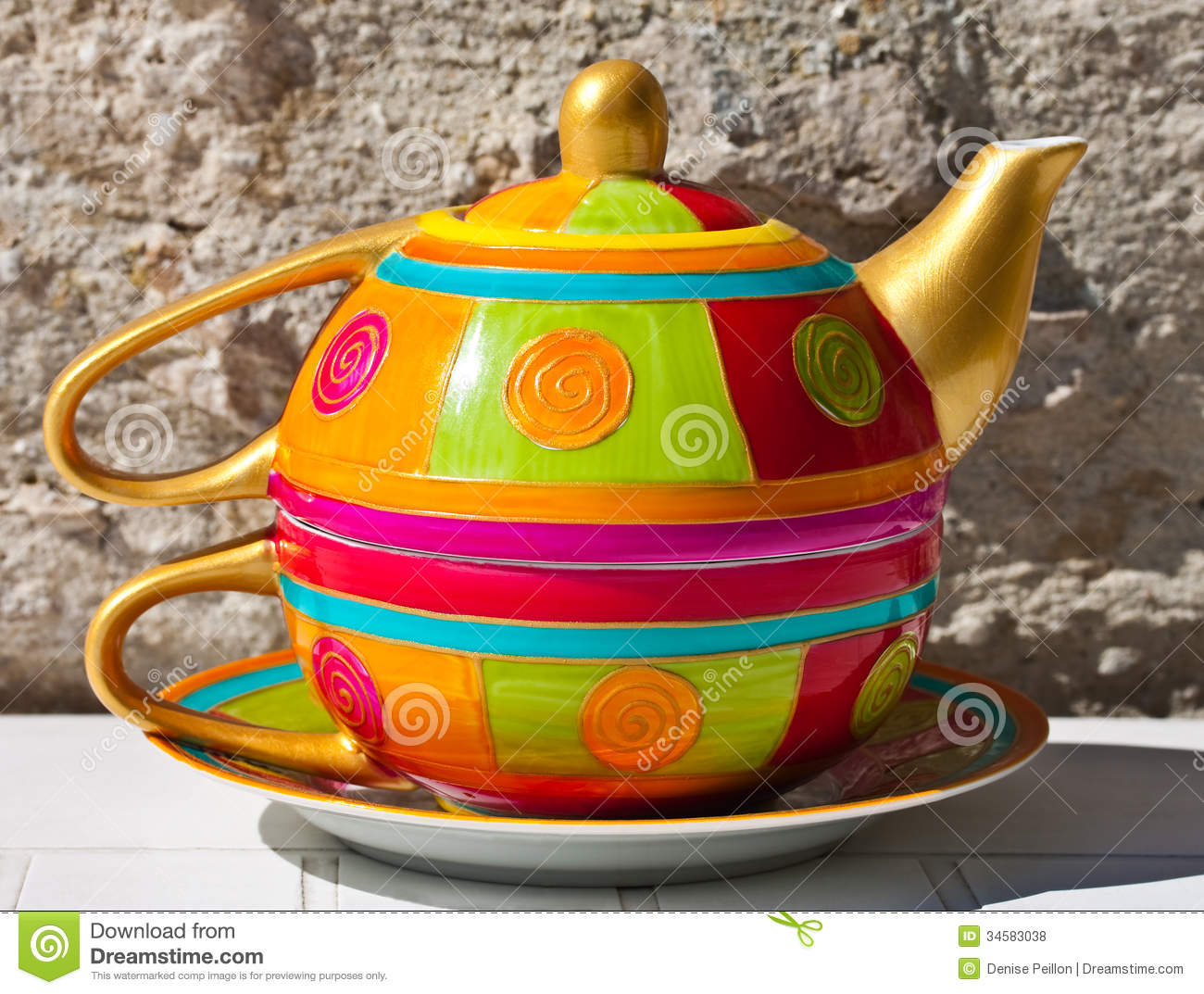 Teapot And Cup Stock Photo Image Of Colorful Tableware