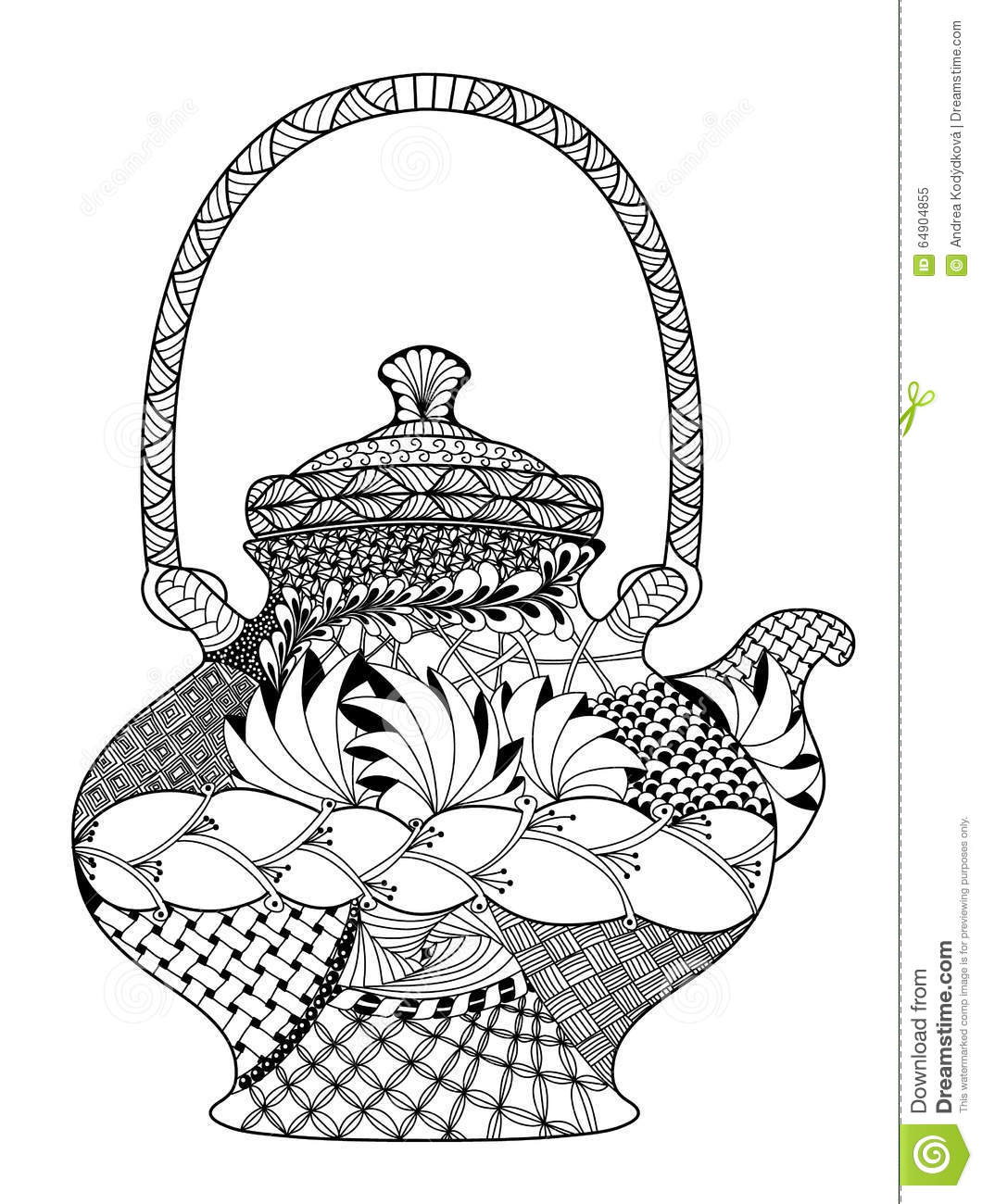 Teapot Highly Detailed Illustration In Zentangle Stock