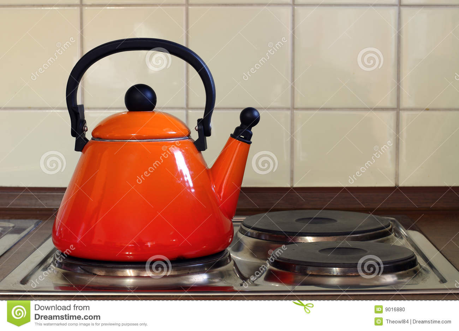 Teapot On Kitchen Oven Stock Photo Image 9016880