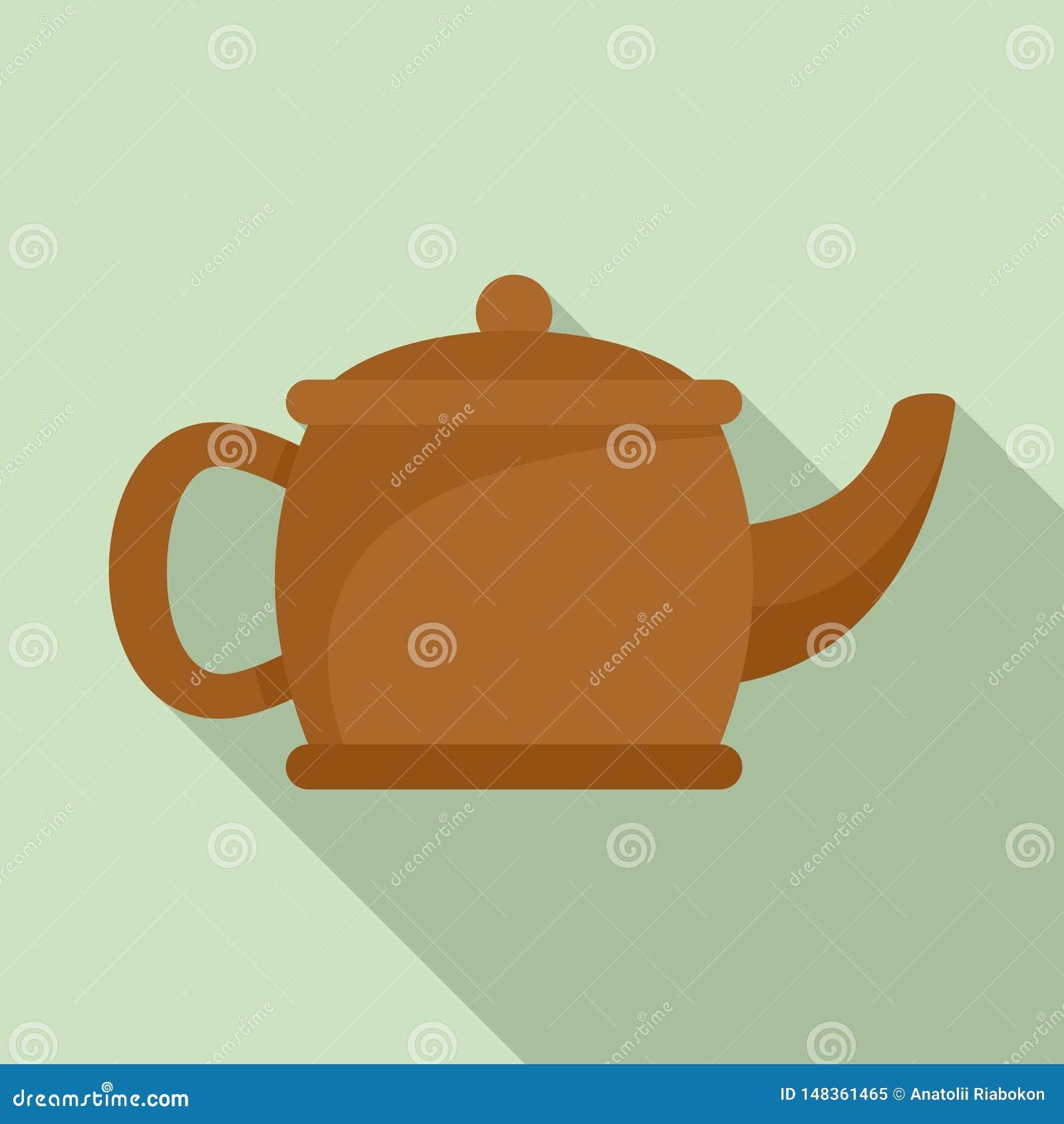 Teapot Matcha εικονίδιο, επίπεδο ύφος