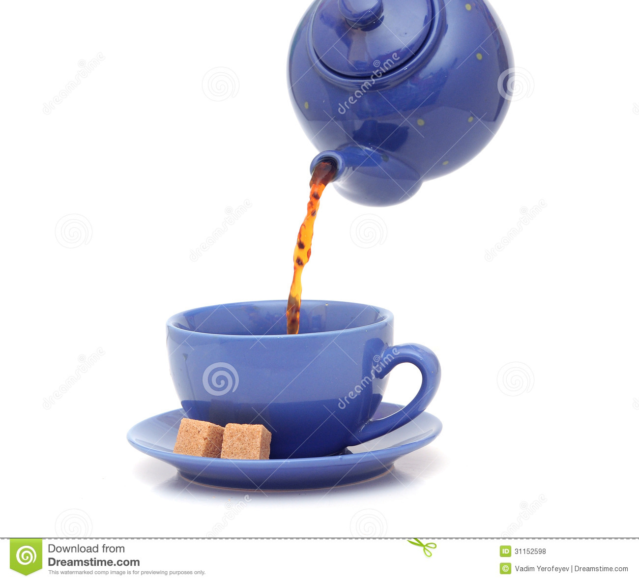 Teapot Pouring Tea Into A Cup Stock Photo Image Of