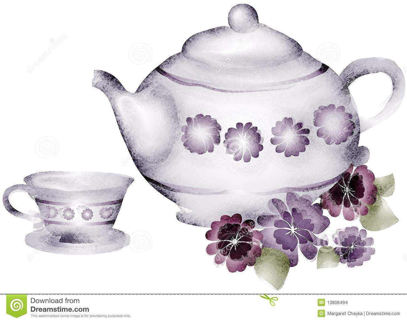 ... And Tea Cup Violets Flowers Clip Art Stock Images - Image: 13806494