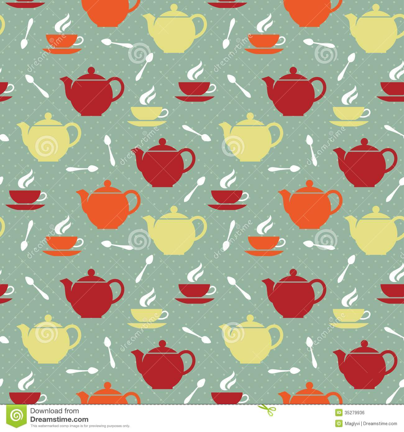 Seamless pattern with colored teapots, teacups and teaspoons in retro ...: www.dreamstime.com/royalty-free-stock-image-teapots-teacups...