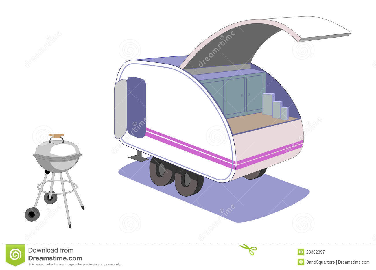 Teardrop Trailer And Cool Retro Grill Parked Ready To Cook Supper This Tiny