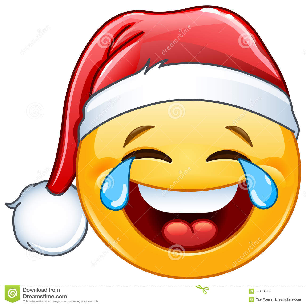 Tears of joy emoticon with santa hat stock vector