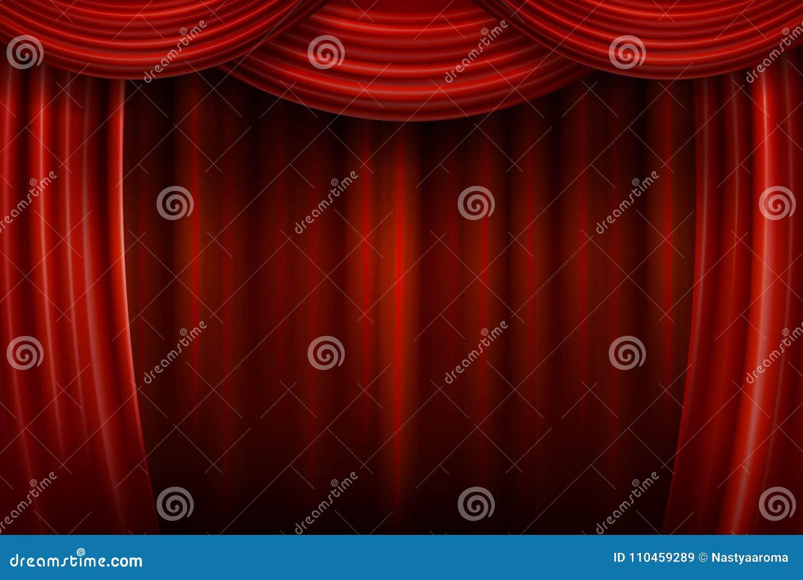 Teater för etapp för show för begreppsgardinpresentation röd