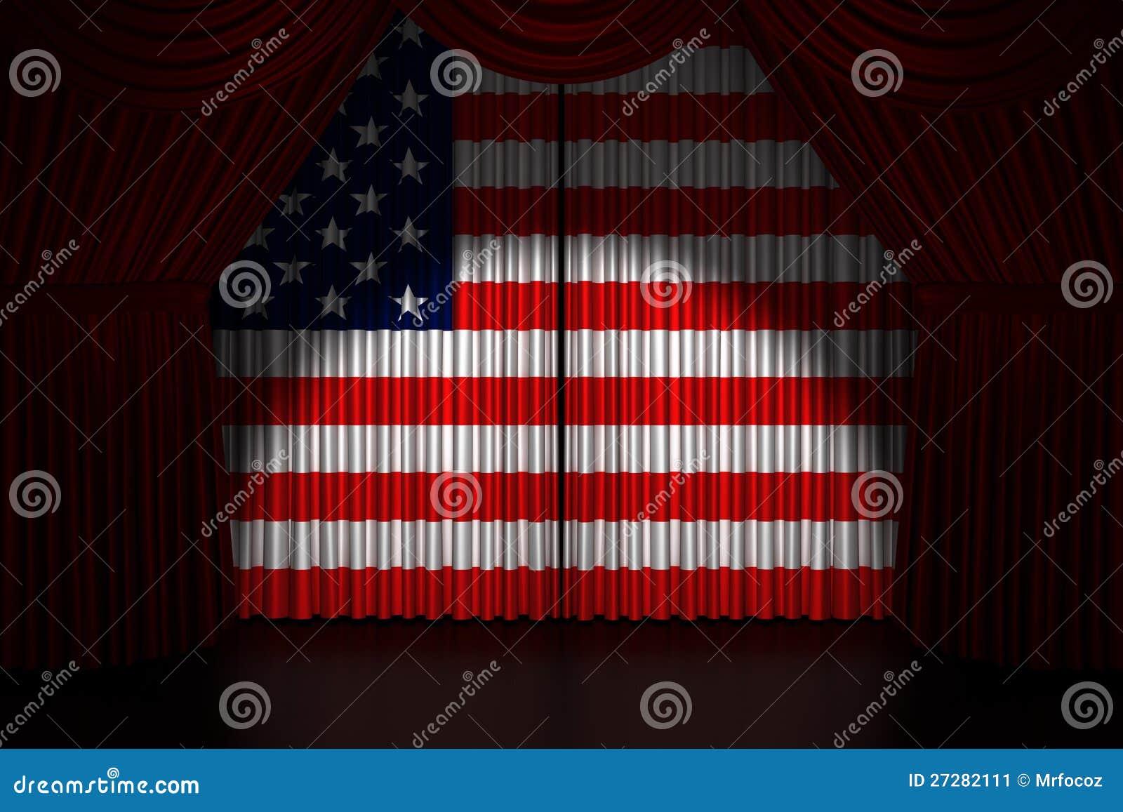 Teatergardin med flaggan USA