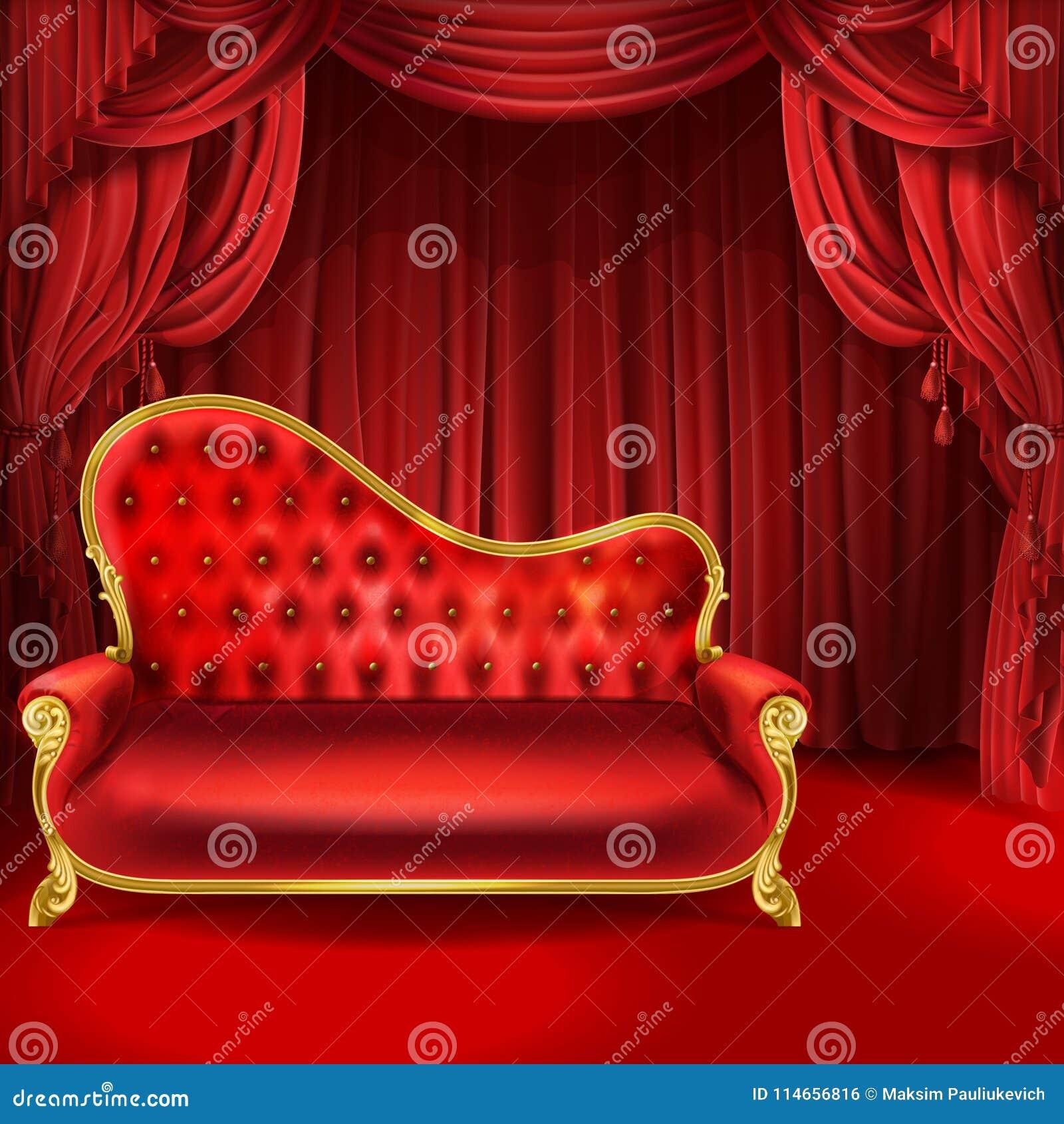 Teatervektorbegreppet, den röda soffan, plats hänger upp gardiner