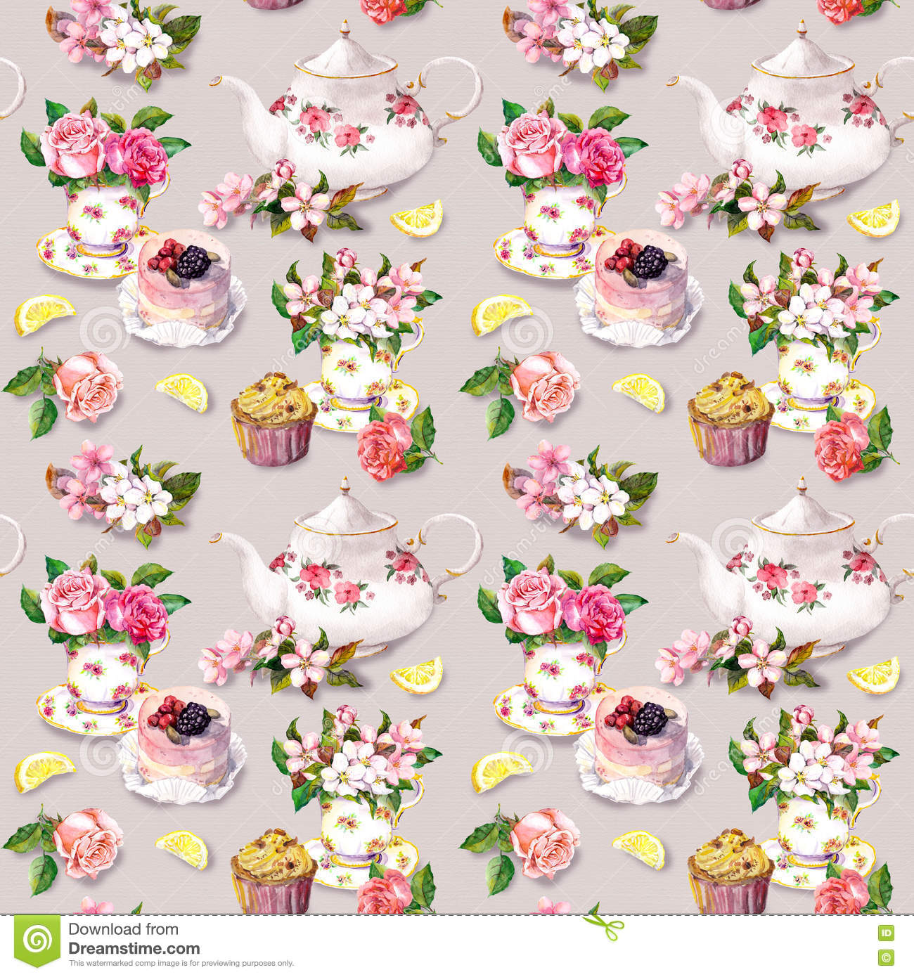 Teatime pattern flowers teacup cake teapot watercolor for Design patterns for pot painting