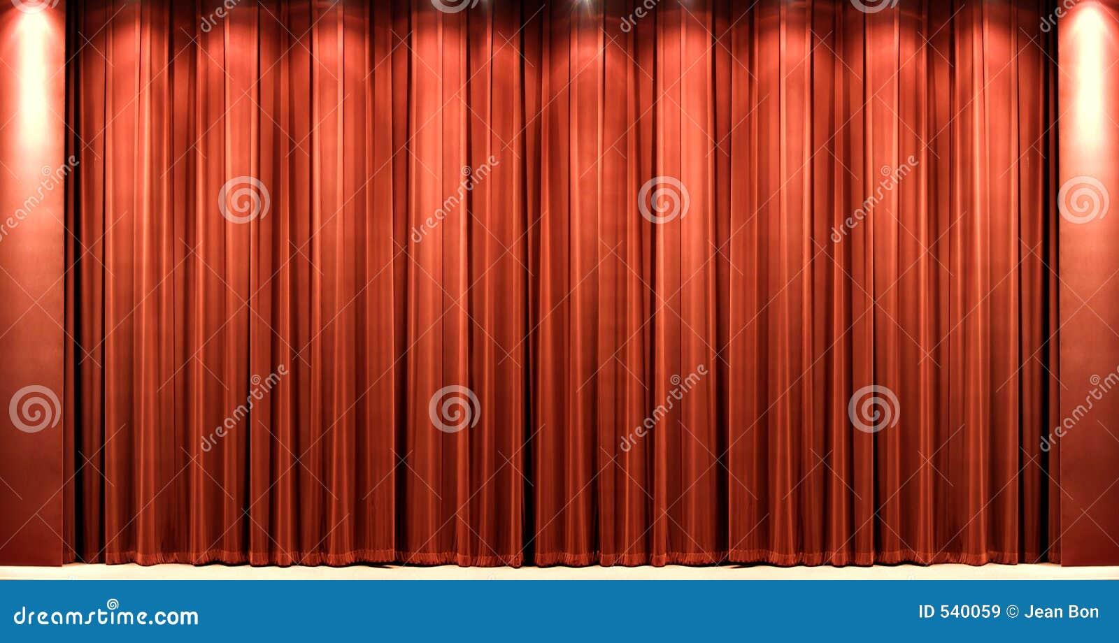 Teatr courtain czerwonego aksamitu
