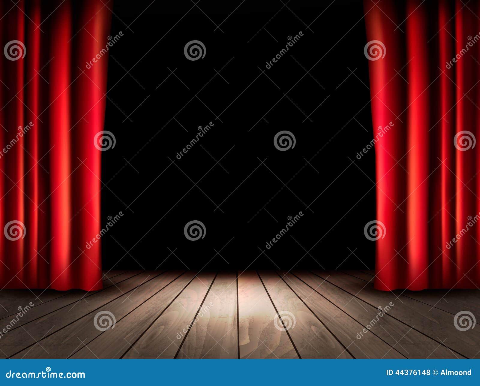 Teatr scena z drewnianymi podłogowymi i czerwonymi zasłonami