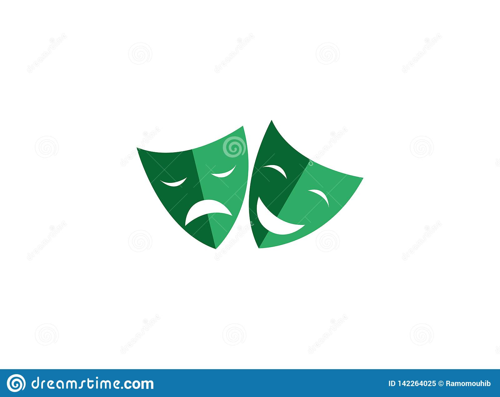 Teatralnie maski dwoista twarz dwa szczęśliwe i smutne twarze dla logo