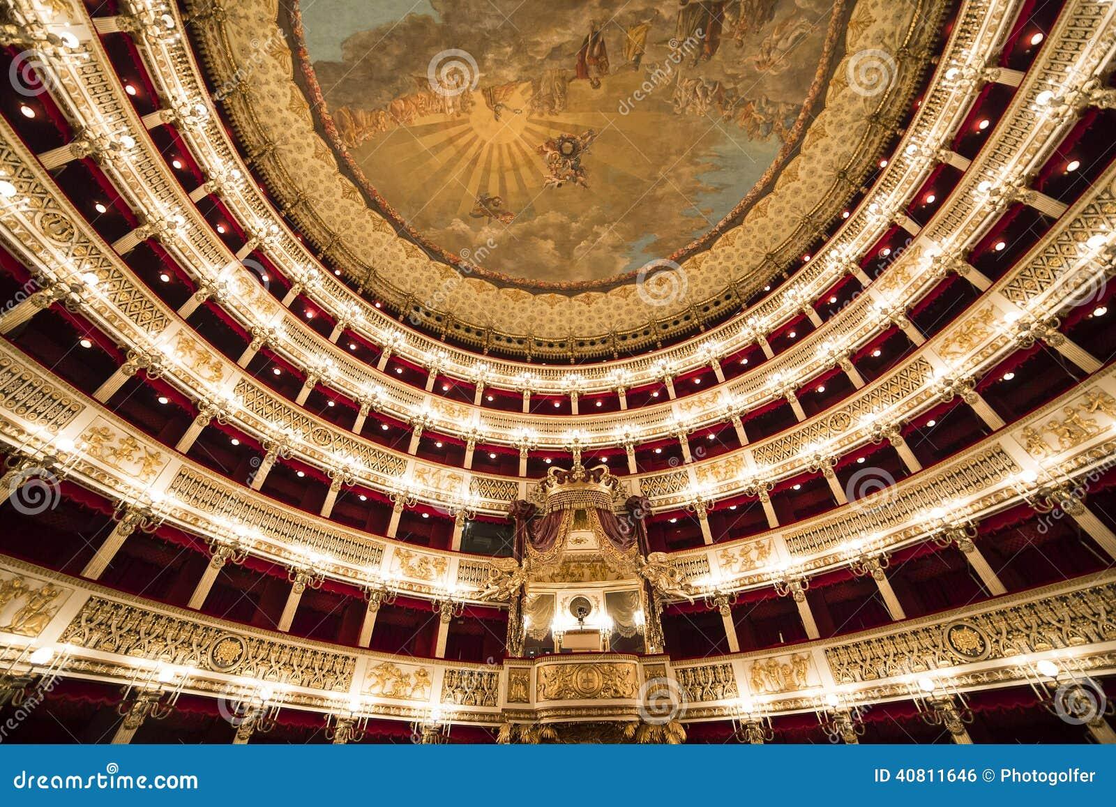 teatro圣克罗,那不勒斯内部和细节歌剧院,意大利.