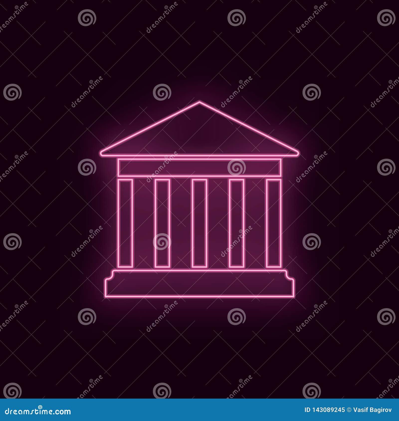 Teatro histórico, de neón, icono Icono de neón del ux del ui del color de rubíes del teatro Vector del logotipo de la muestra del