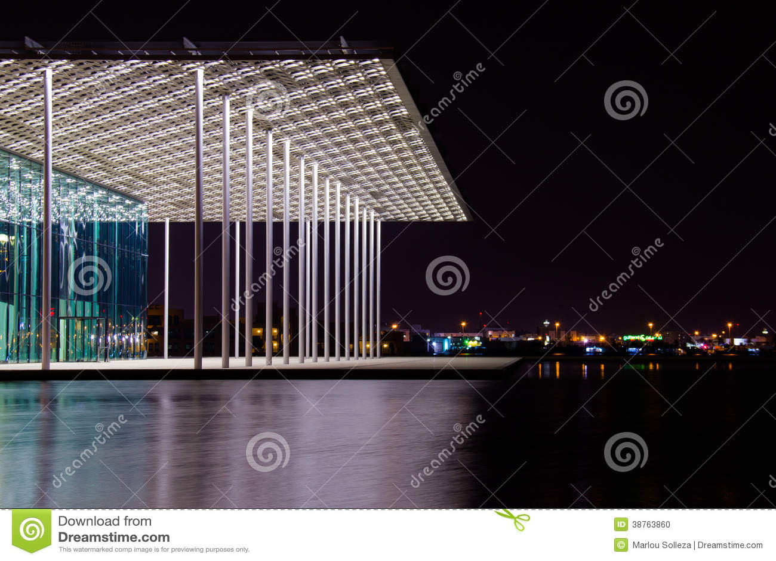 Teatro internacional de Barém na noite
