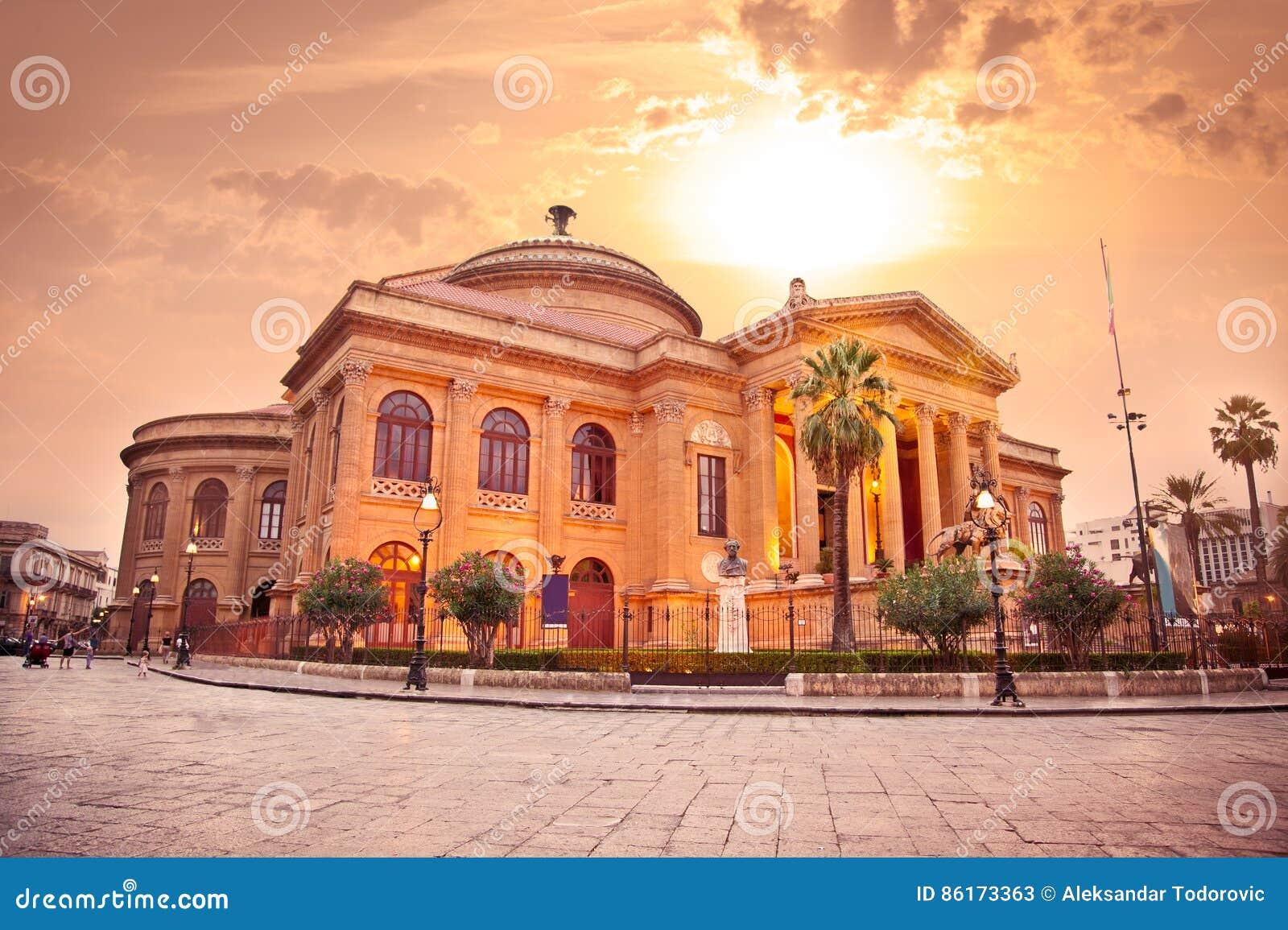 Teatro Massimo, Opera House In Palermo. Sicily. Stock Image - Image ...
