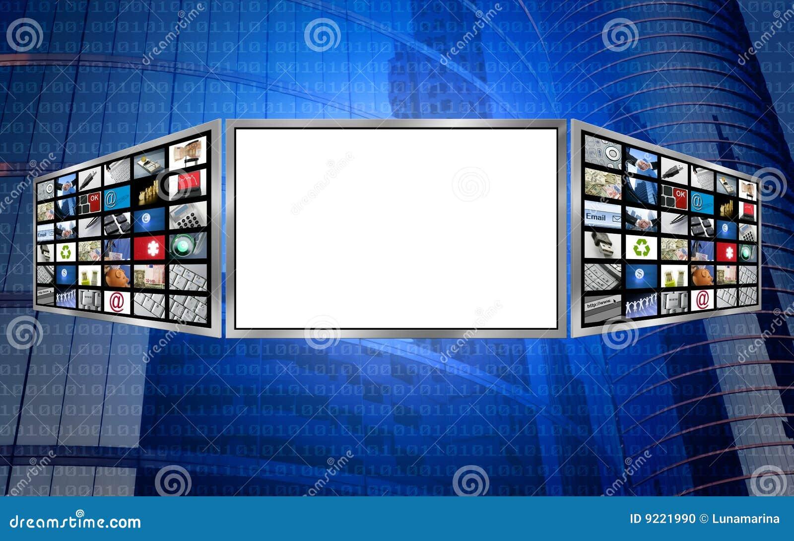 Tech för avstånd för skärm för kopia för begrepp 3d global