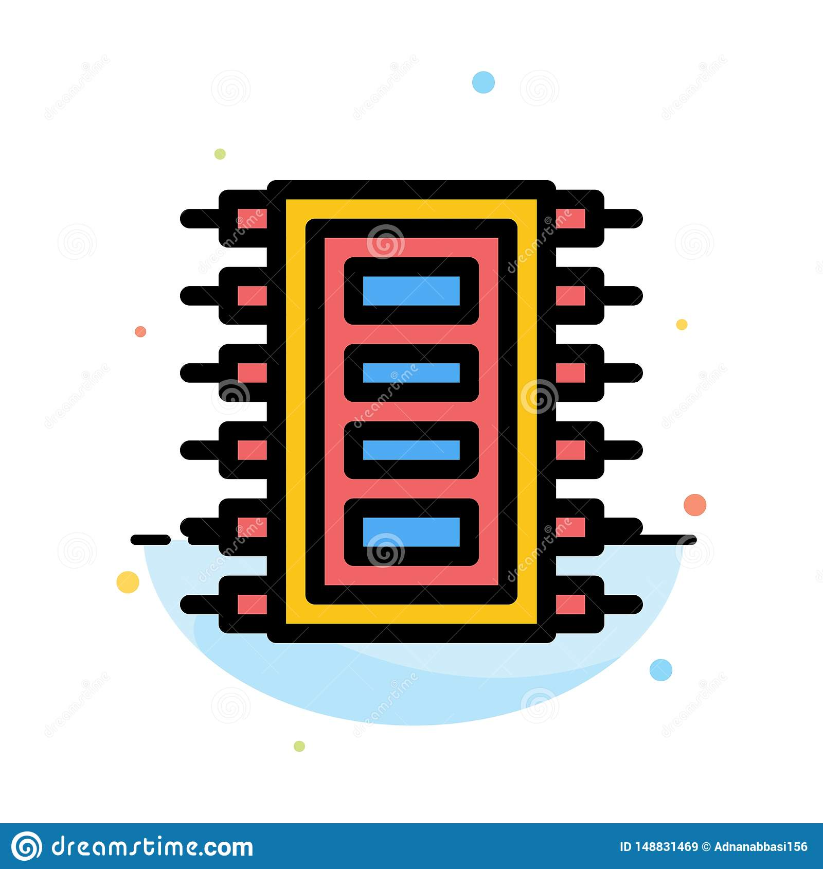 Tech, Hardware, Chip, Computer, Connect Abstract Flat Color Icon Template