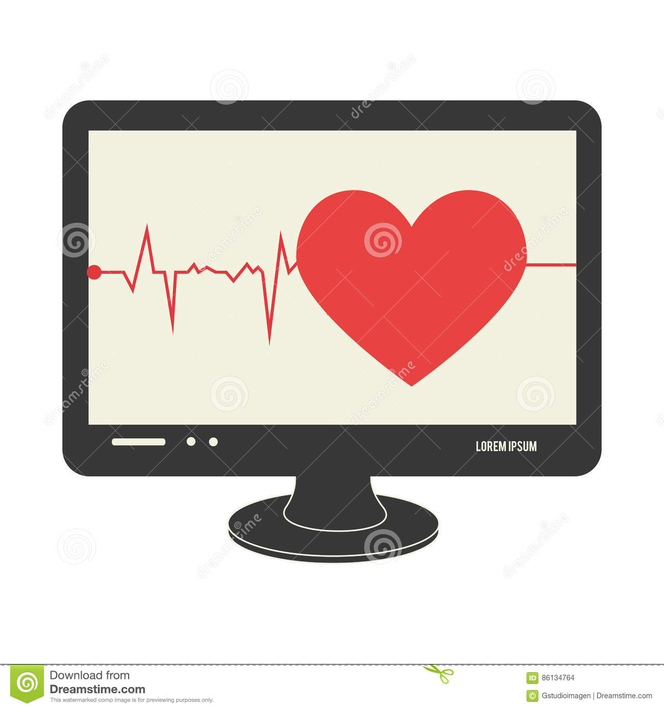 Tech screen computer in wide flat with heart and life signs