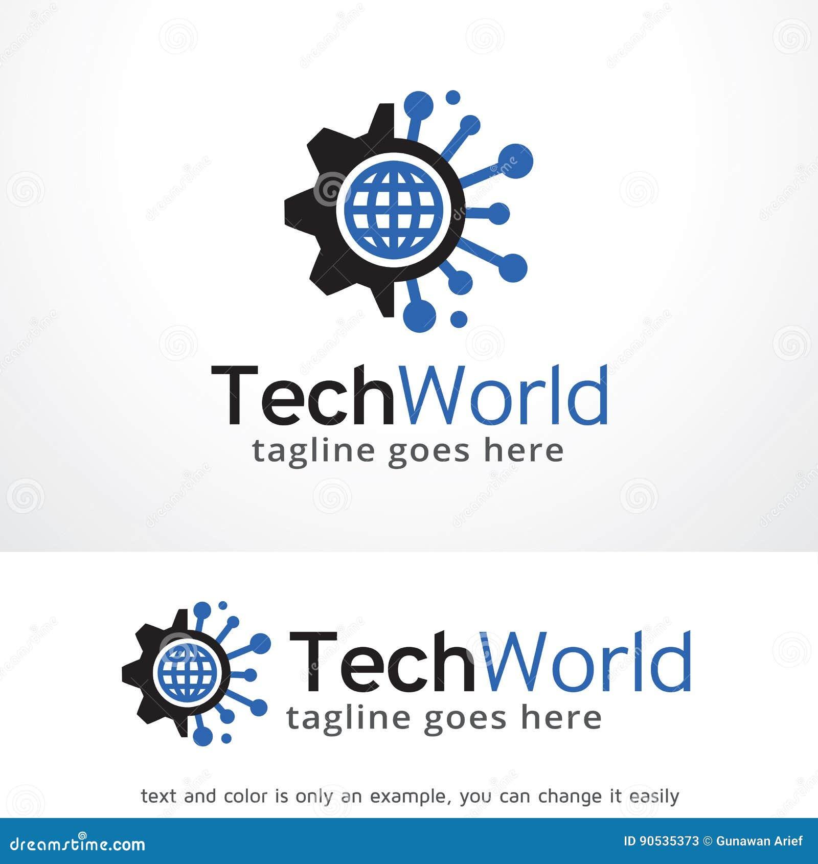 Tech World Logo Template Design Vector Emblem Design Concept