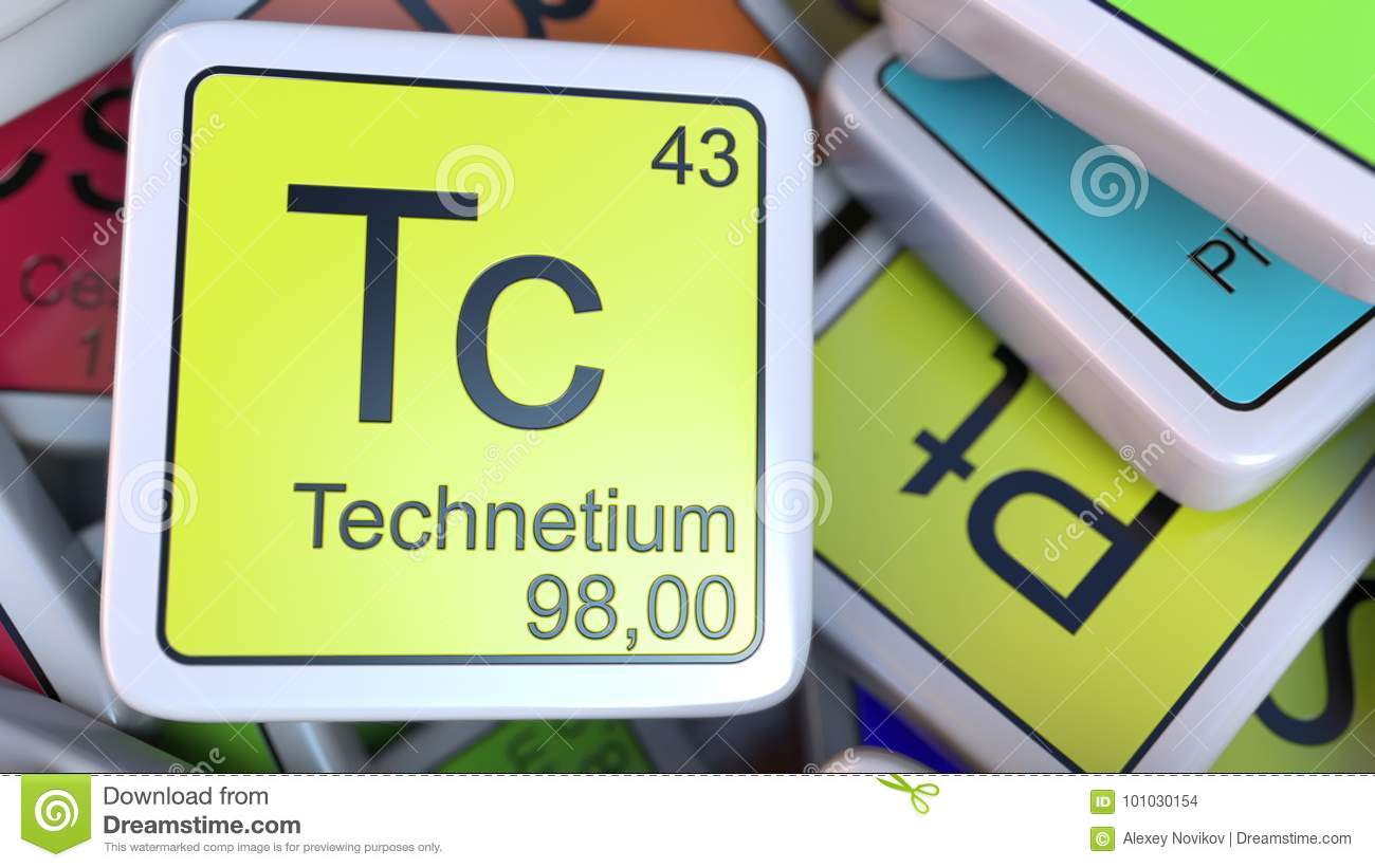 Technetium Tc Block On The Pile Of Periodic Table Of The Chemical