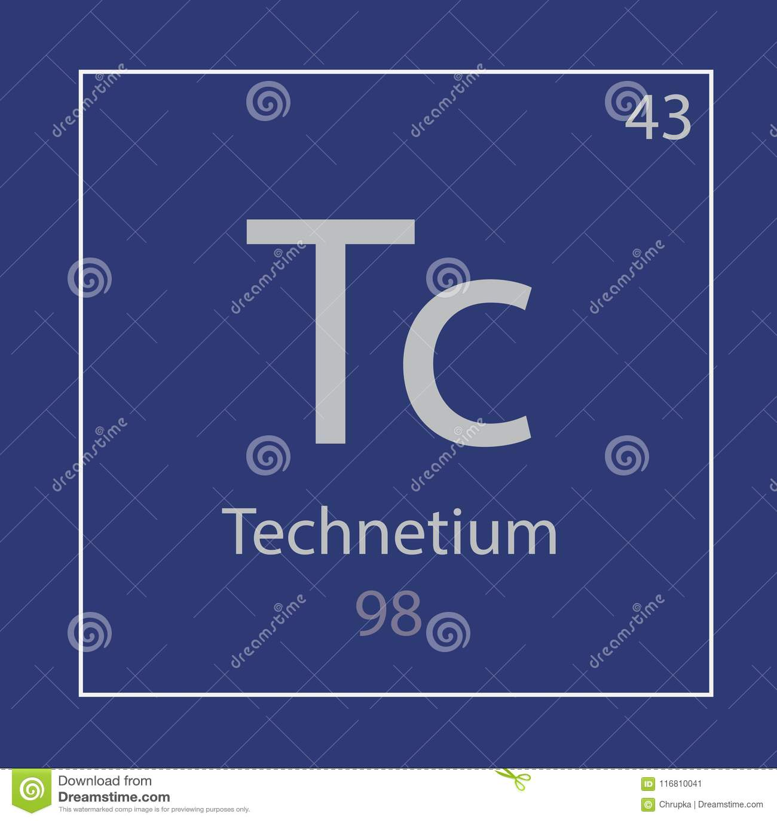 Technetium Tc Chemical Element Icon Stock Vector Illustration Of