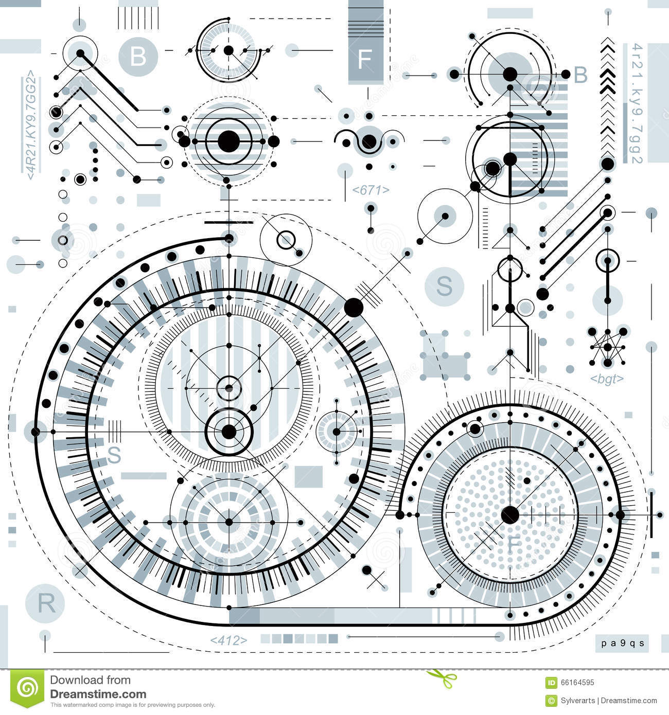 Drawing Lines Engineering : Technical drawing with dashed lines and geometric shapes
