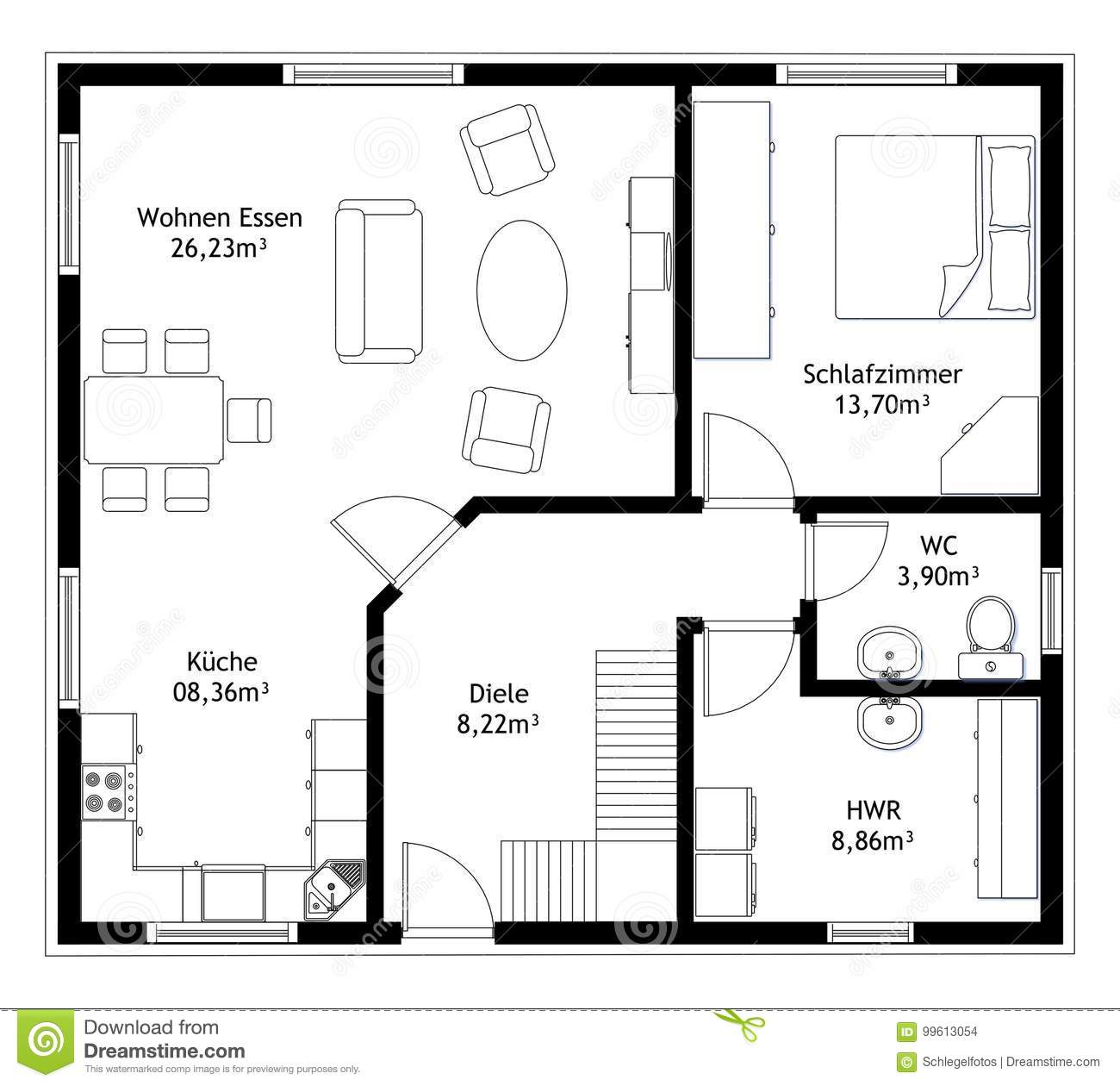 Technical drawing home floor plan stock vector for Who draws house plans