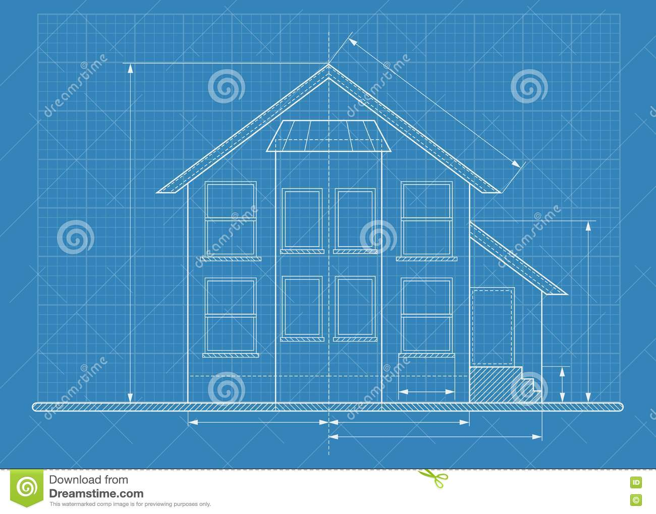 Technical drawing house blueprint stock vector image for Where to get blueprints for a house