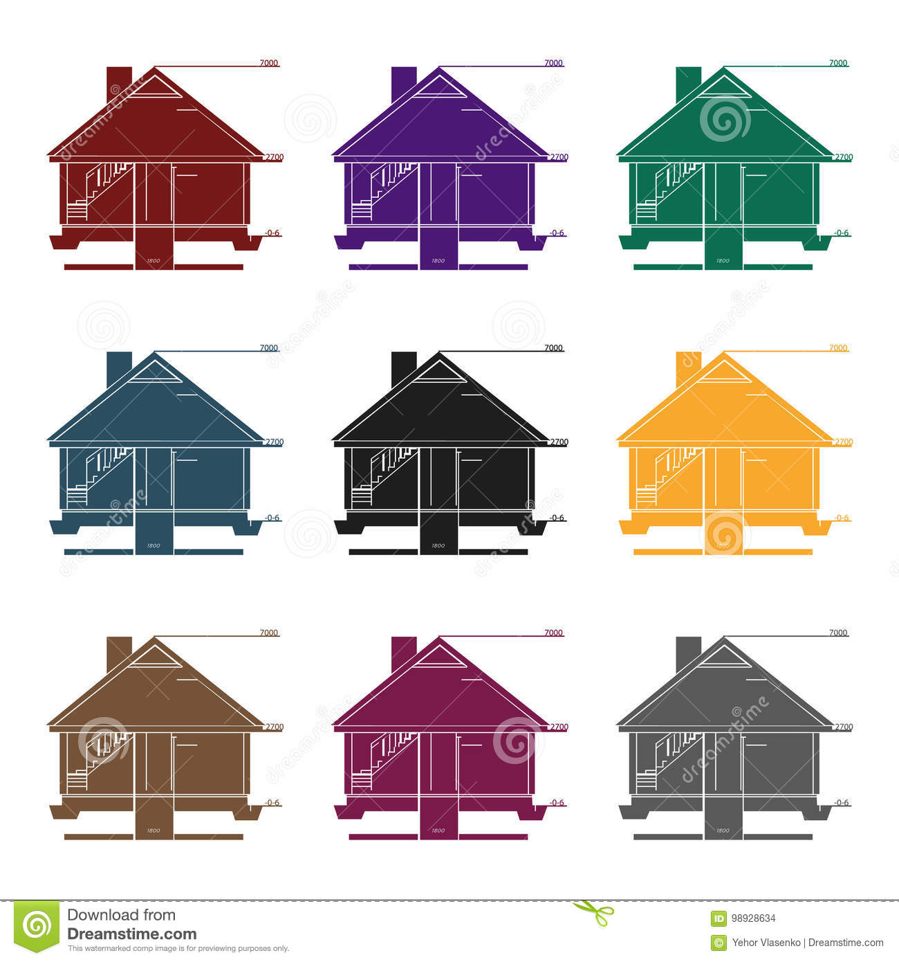 Technical Drawing Of House Icon In Black Style On White Background