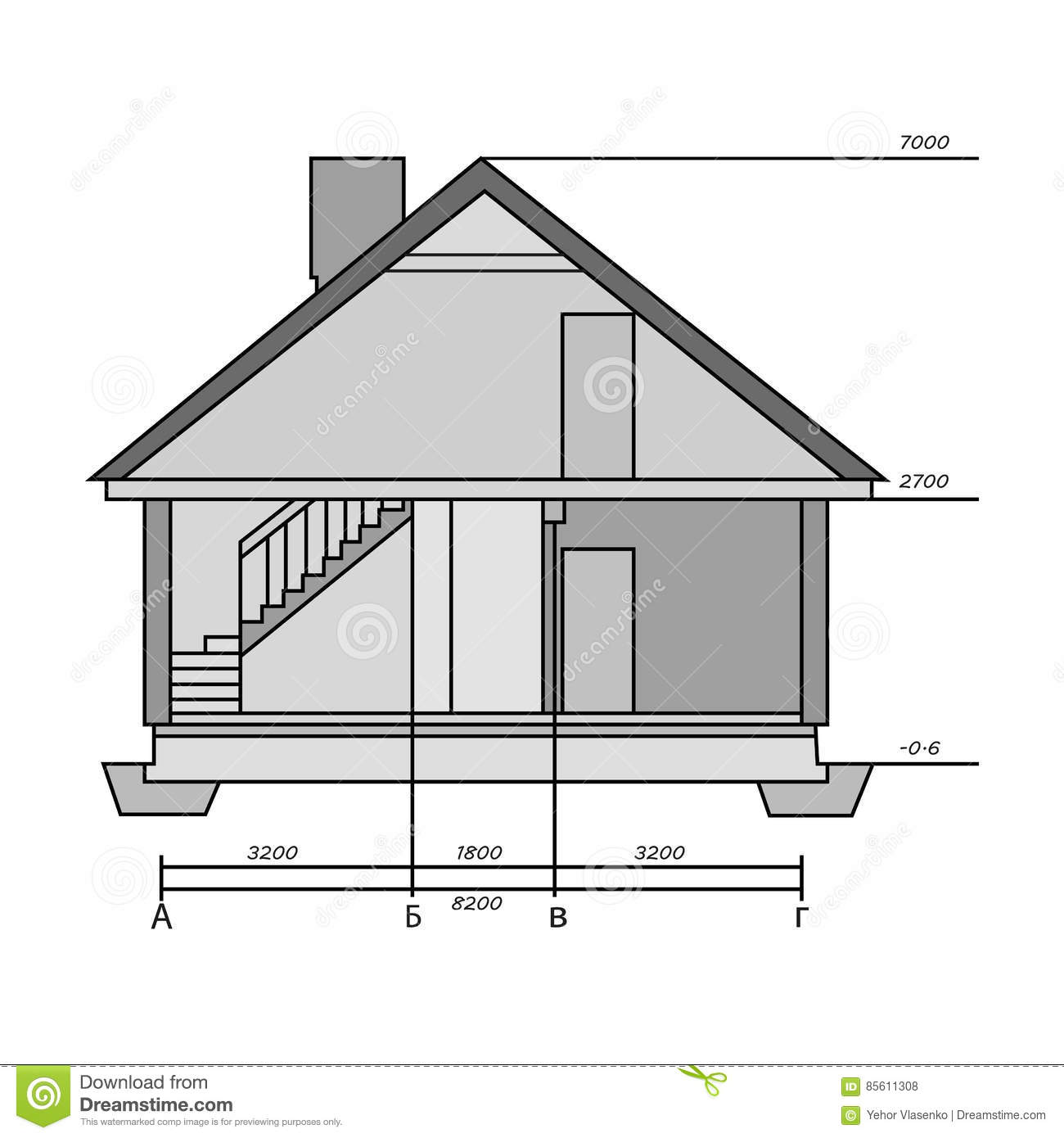 Technical Drawing Of House Icon In Monochrome Style Isolated On