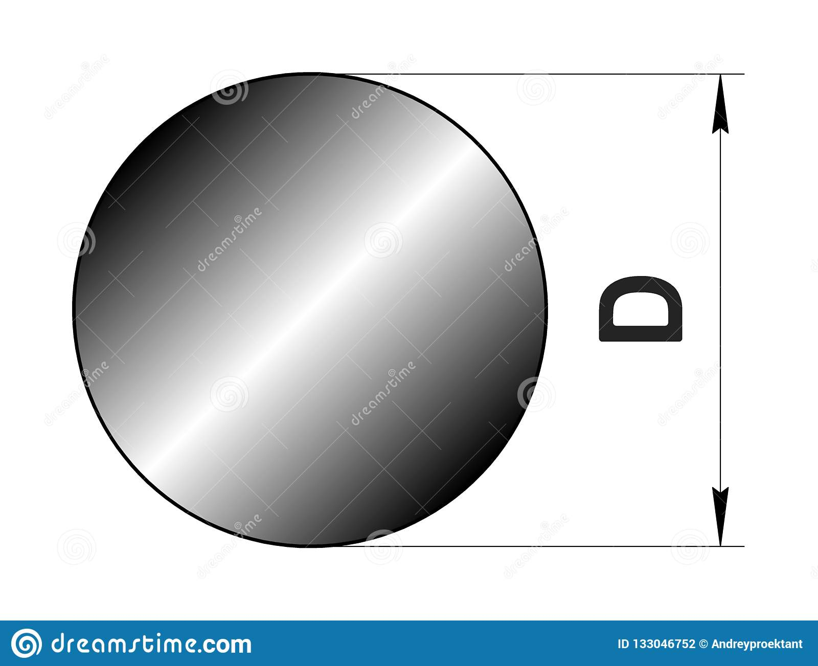Technical drawing rolled metal. Steel circle profile. Image for web site. Illustration.