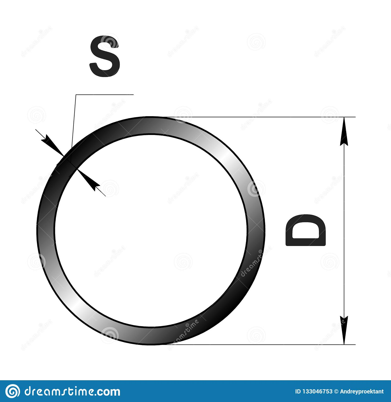 Technical drawing rolled metal. Steel round tube profile. Image for web site. Illustration.