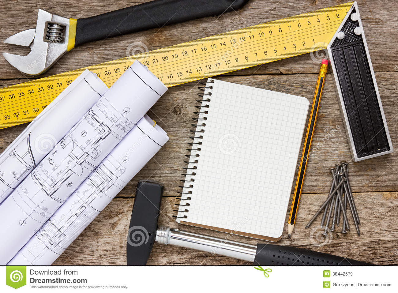 Technical Drawing And Tools With Blank Notebook Stock Image