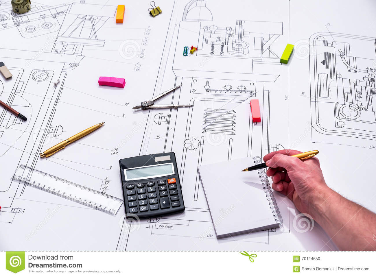 Technical Drawing And Tools Stock Photo - Image of