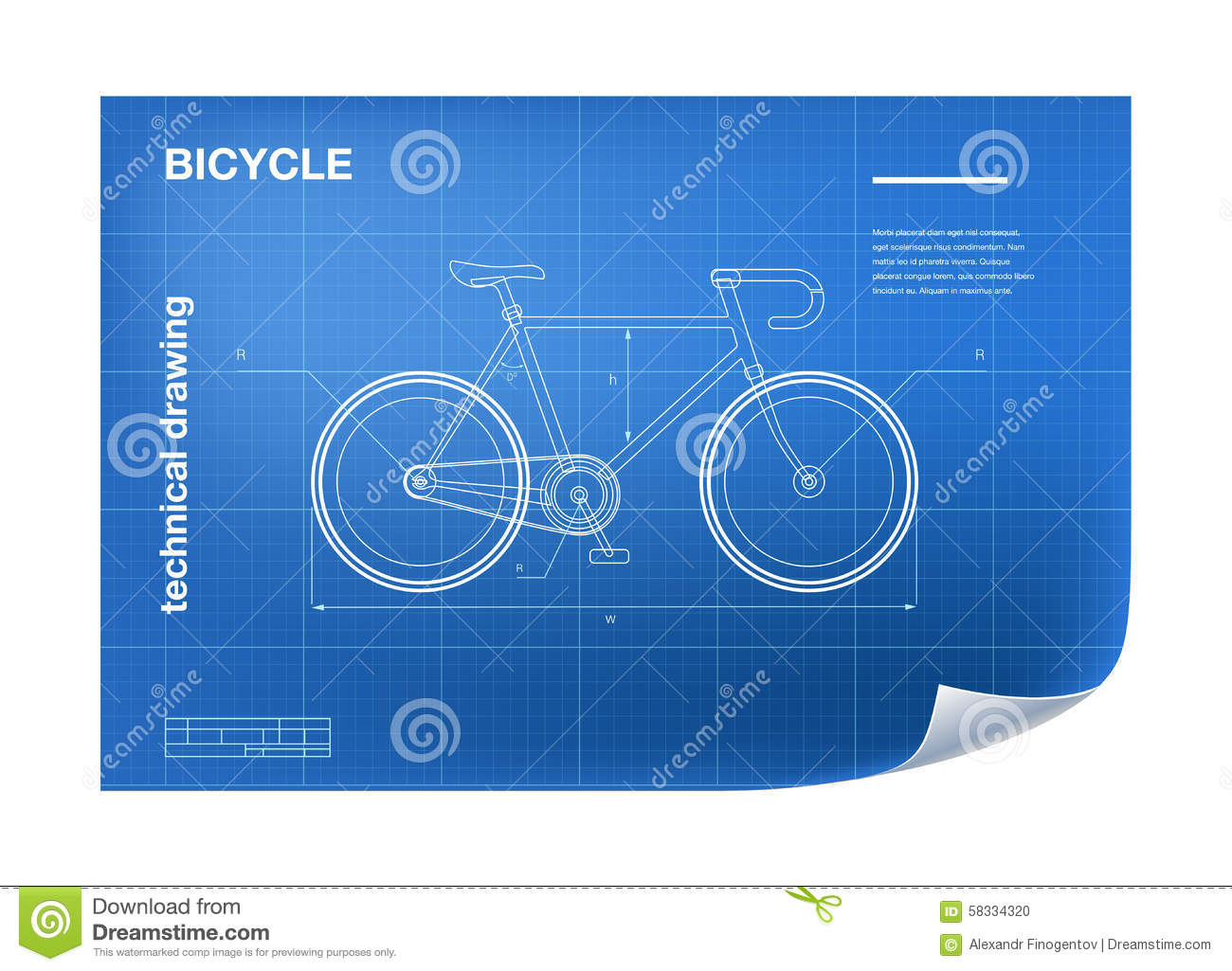 Technical Illustration With Bicycle Drawing Stock Vector