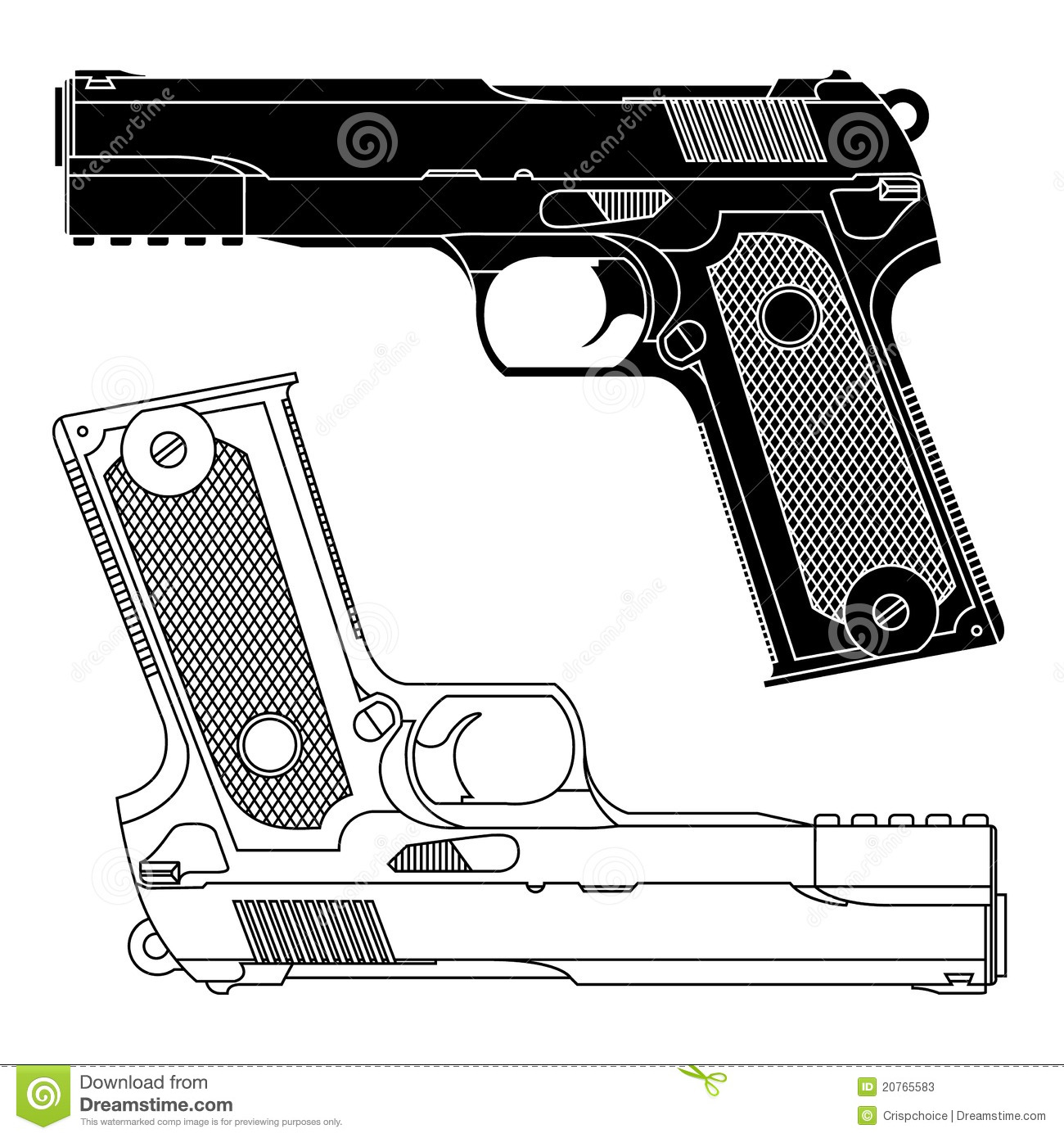One Line Art Gun : Technical line drawing of mm pistol gun stock vector