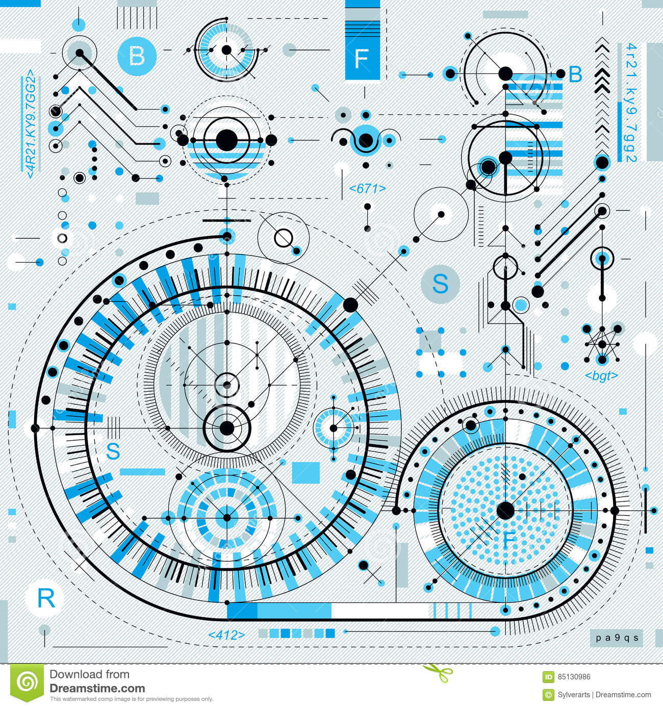 Technical Plan, Engineering Draft  Vector Drawing Of Industrial