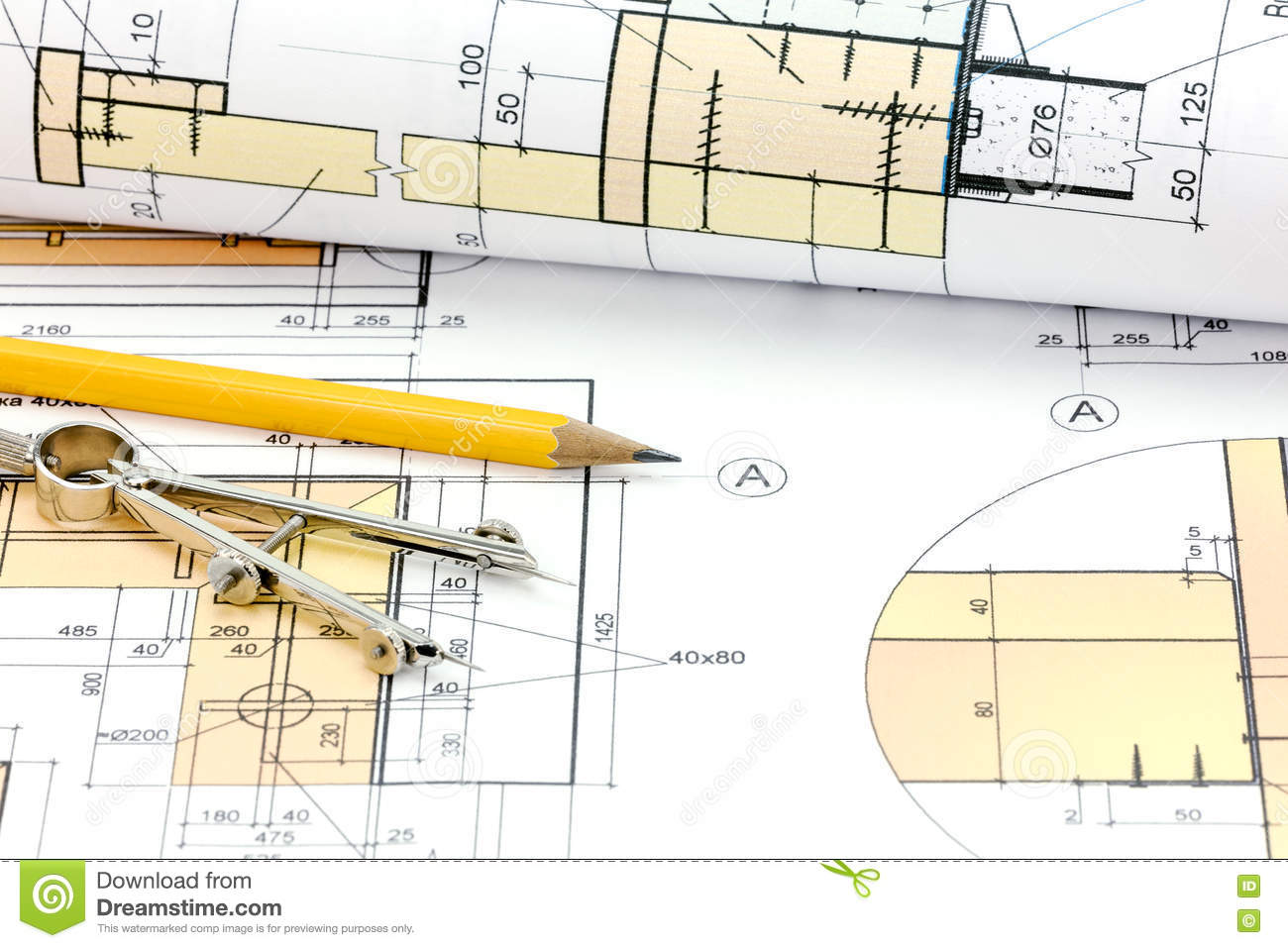 Technical Project Drawings, Rolls Of Blueprints And Drawing Tool ...