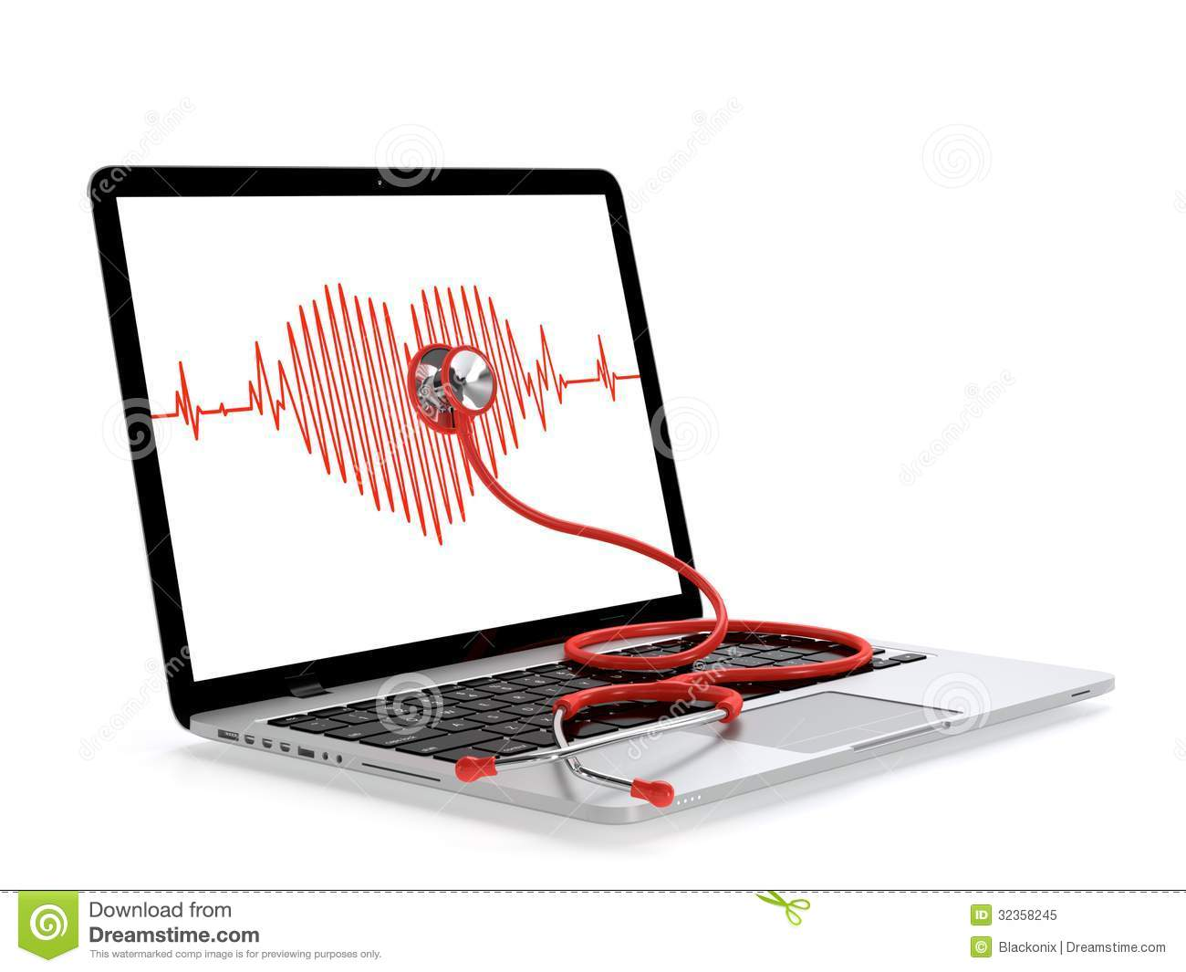 Laptop and stethoscope with heart rate on screen on white. Computer ...