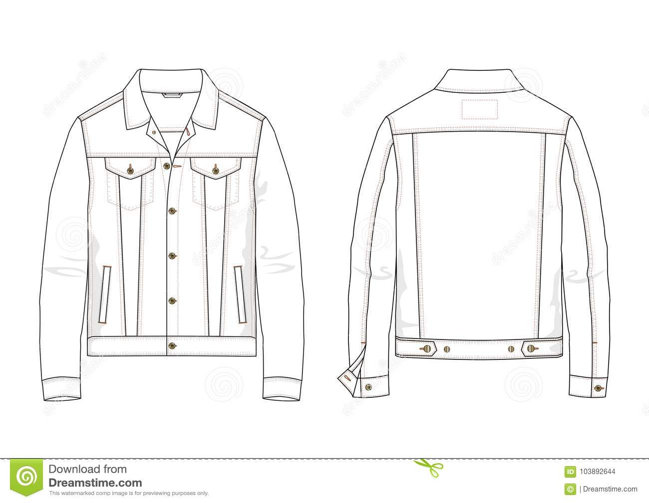 Technical Sketch Of Denim Jacket In Vector Stock Vector