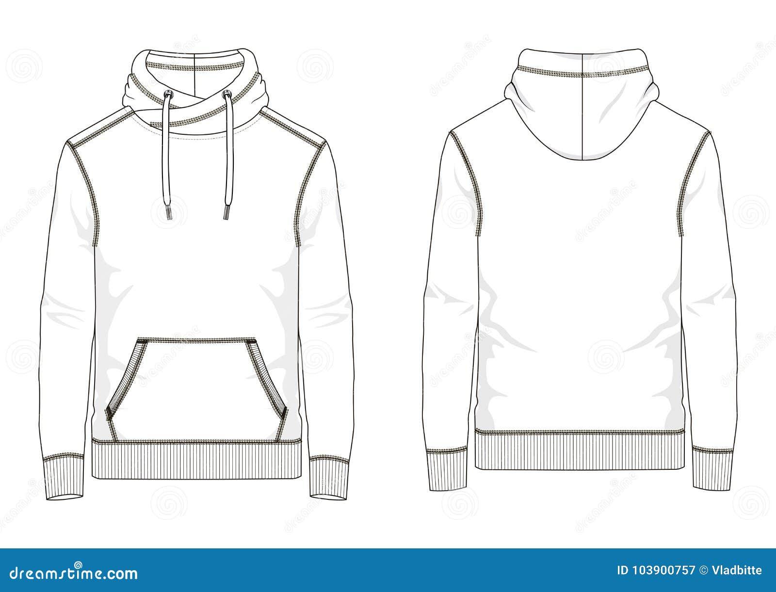 Technical Sketch Of Man Sweatshirt In Vector Stock Vector - Illustration Of Pocket White 103900757