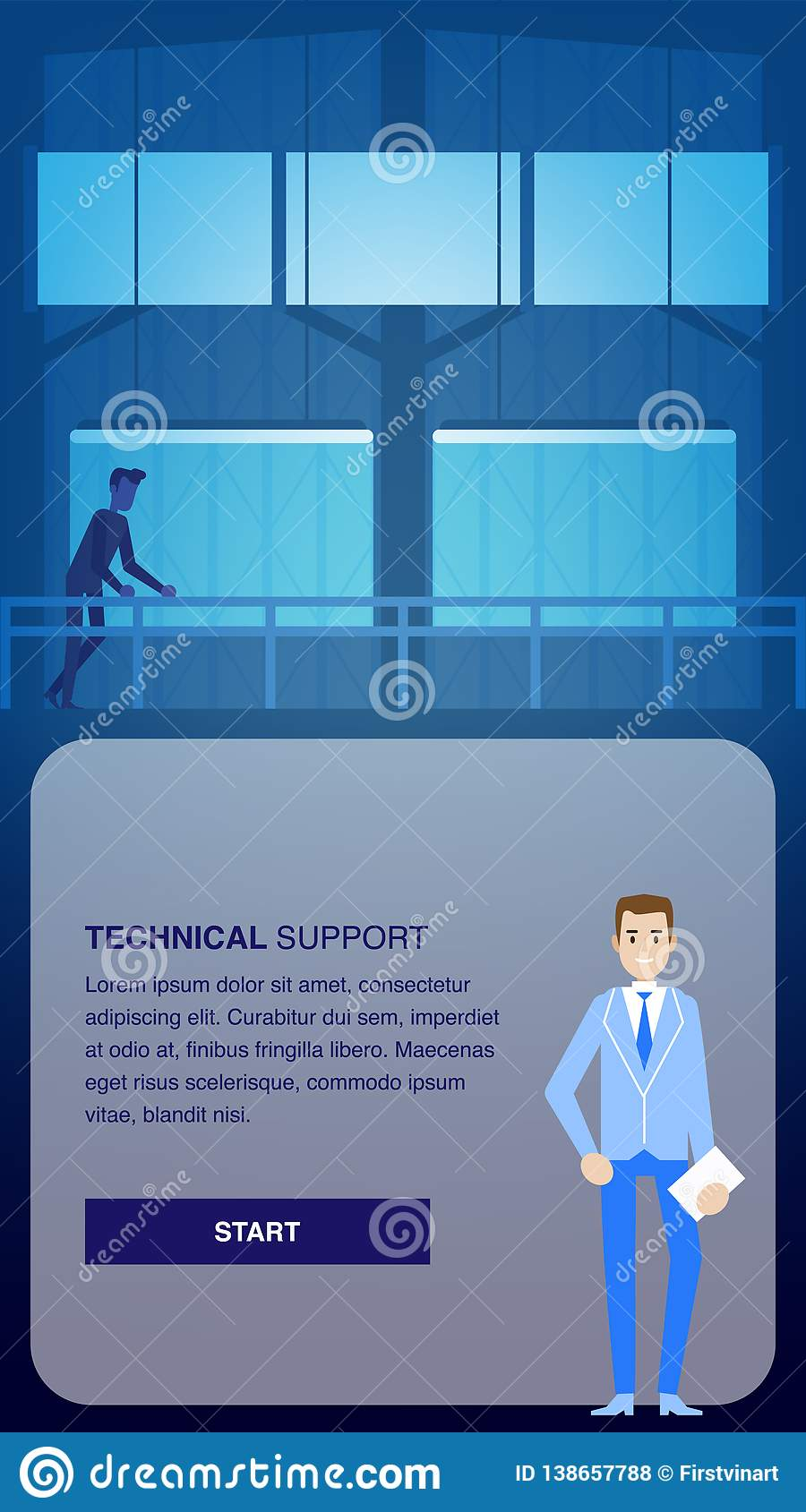 Technical Support Banner. Engineer in Datacenter