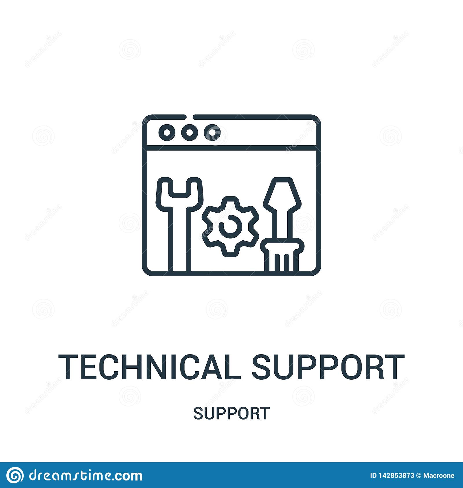 technical support icon vector from support collection. Thin line technical support outline icon vector illustration. Linear symbol