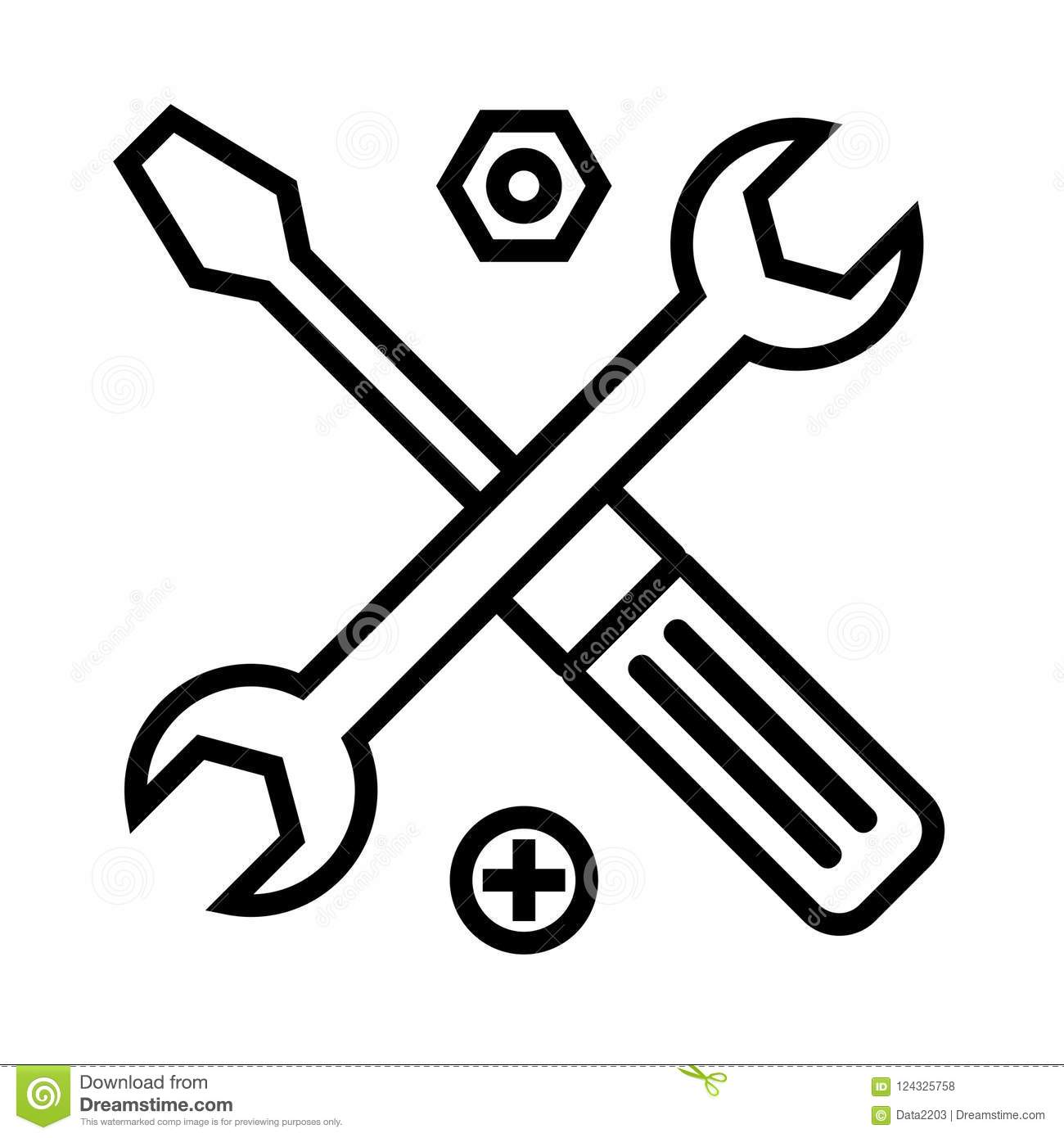 Technical support symbol. Tools outline icon